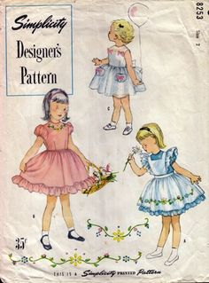 Simplicity 8253 Child's One-Piece Dress and Pinafore, With Transfer $16 #vintage #1950s #girls  Version A and B: Bodice of dress has round neckline, short puffed sleeves and full skirt which is gathered at the waistline with si