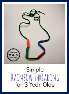 Teaching 2 and 3 Year Olds: Is your child ready for some simple threading? See how we invite our 3 year olds to lace, starting with straw pieces and lacing yarn. A nice, calm activity that helps develop those fine motor muscles!