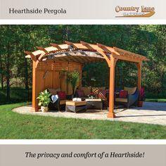 The privacy and comfort of a Hearthside! #backyard #pergola #outdoorliving #livingthedream #entertain #entertaining #outdoorspaces #livingthedream www.gazebo.com/pergolas