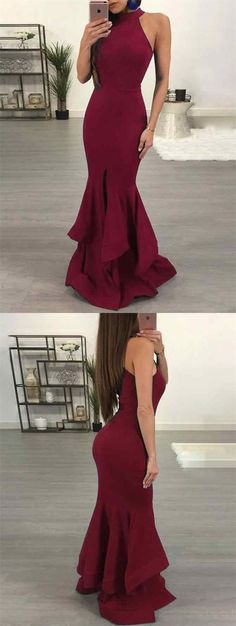 elegant burgundy halter prom dress with ruffles, bodycon mermaid burgundy evening dress with split B1450