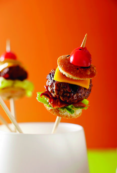 Burger Spears  Looking to beef up your cocktail-hour lineup? More elegant than a slider and neater than a full-size bacon  cheeseburger, this is a fun, easy-to-eat riff on America's most iconic menu choice.