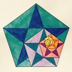 #Fractal #Fibonacci #geometry #symmetry #pattern #math #Escher #Art #warercolor #handmade Geometry Art, Sacred Geometry, Pentacle, Enlightenment Art, Fractals In Nature, Heart Quilt Pattern, Geometric Drawing, Square Art, Math Art
