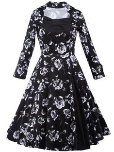 Rose Monochrome Long Sleeve Swing Tea Length Dress - Black S
