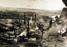 "Lot-11620-6: Allied Air Raids in Europe, WWII. Astra Romana Refinery. This photograph gives a vivid idea of how the Consolidated B-24 ""Liberator"" flew in bombing the Ploesti Field, August 1, 1943. Office of War Information Collection. Courtesy of the Library of Congress."