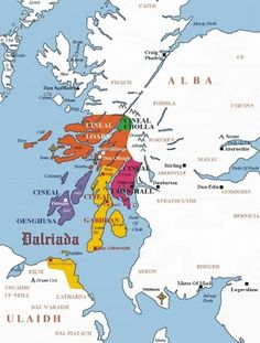 Dál Riata (also Dalriada or Dalriata) was a Gaelic overkingdom on the western coast of Scotland (then Pict-land) and part of Ulster. In the late 6th and early 7th century it encompassed roughly what is now Argyll and Bute and Lochaber in Scotland and also County Antrim in Northern Ireland.- Wikipedia