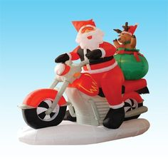 6 Foot Long Inflatable Santa Claus & Reindeer Riding Motorcycle by BZB Goods. $98.00. Self Inflates in Moment. Great for Indoor and Outdoor; Easy Set Up. Lights Up for Better Nighttime Viewing. Deflates Back Down for Easy Storage. Everthing Included: Inflator Fan, Ground Stakes and Tethers. 100067 Christmas inflatable is sure to bring delight to children and adults alike. Don't think about where you are going to store it until next Christmas. Once deflated, it'...