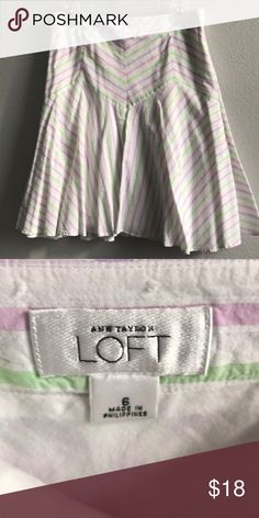 Loft A-Line Multi Skirt Loft Cotton Multi Color Striped A Line Skirt Size 6 LOFT Skirts A-Line or Full