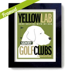 Labrador Retriever Golf Art Gift for Golfer Art Yellow by DexMex