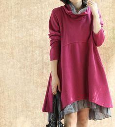 Women fall Long dress/ Cotton Heap collar loose dress/ Double dress