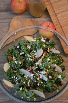 Apple Pecan Kale Salad with Apple-Honey Dressing (Paleo)