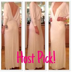 Young Fabulous and Broke Eaton Maxi Dress Plunging neckline and back. Elasticized waist. Dolman sleeves. Softest stretch YFB jersey. Bright white. Young Fabulous & Broke Dresses Maxi
