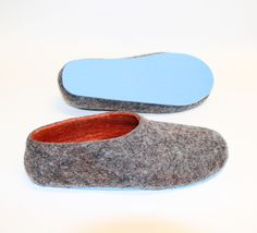 Wool Shoes Titanium Tangerine Contrast Color Soled are custom handmade in all sizes for Men. Pure wool. No synthetics. 10 options of COLOUR SOLE. Mix Match #pastel #forhim #mens #woolsocks #menslippers #slippers #felted #orange #charcoal #blue #150USD