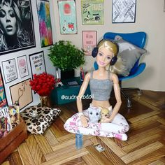 "Barbie in the yoga studio. ""I love my new parquet floors!"