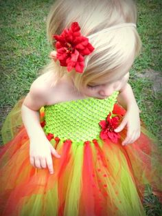 Red and Green Christmas Tutu Dress! Comes with matching poinsettia headband.