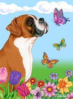 Best of Breed Boxer Fawn Uncropped Butterfly Garden Flag Akita, Animal Drawings, Art Drawings, Animals And Pets, Cute Animals, Dog Quotes Love, Pet Remembrance, Boxer Love, Dog Ornaments