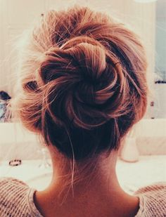 Messy braided bun hair idea~ Quick and Easy Messy Bun Hairstyle www.jexshop.com