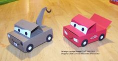 mater and lightening matchbox party favor boxes...with a little bit of instructions