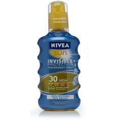 Nivea Sun Spray Invisible Protection High SPF30 200ml ❤ liked on Polyvore featuring beauty products, bath & body products, sun care and nivea