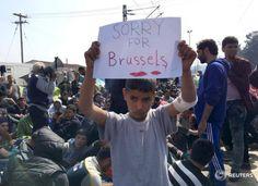 Un niño del campo de refugiados de Idomeni: 'Lo siento por Bruselas'. Fuente: https://twitter.com/ReutersParisPix/status/712239336415170560