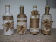 Manualidades Twine Bottles, Reuse Bottles, Wrapped Wine Bottles, Bottles And Jars, Water Bottle Crafts, Wine Bottle Art, Diy Bottle, Diy Home Crafts, Jar Crafts