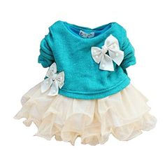 SALE PRICE - $6.99 - Baby Girls Dresses Long Sleeve Blue Pink Red Sweater Lace Butterfly Bowknot