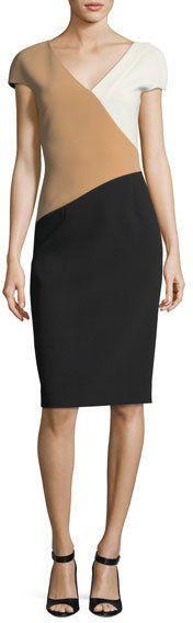 Diane von Furstenberg Cap-Sleeve Banded V-Neck Midi Dress