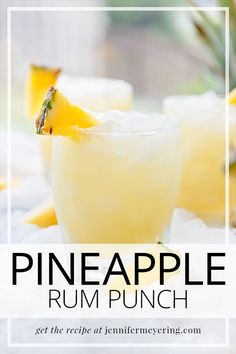 Sweet pineapple juice comes together with white rum lime and a splash of ginger ale for a refreshing summertime cocktail amazing rum cocktails that pack a serious punch Rum Punch Recipes, Rum Cocktail Recipes, Rum Recipes, Alcohol Drink Recipes, Easy Rum Cocktails, Best Summer Cocktails, Summer Recipes, Alcoholic Drinks With Pineapple Juice, Pineapple Cocktail