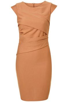 CAMEL PLEAT PONTE PENCIL DRESS FROM TOP SHOP