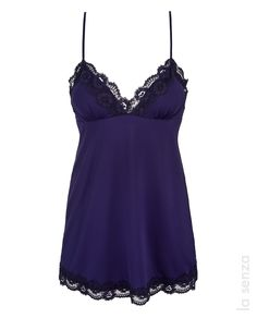 Show your sexy side! This soft microfiber chemise has lace trim and strappy back details that were made to be seen.