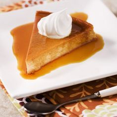 La Lechera Pumpkin Flan | Meals.com -  Cinnamon-seasoned pumpkin paired with rich, gooey caramel make this a delectable dessert your guests will be glad they saved room for! #pumpkin #flan