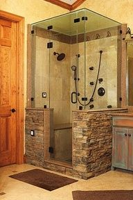 Gorgeous tiling in this modern, open bathroom shower