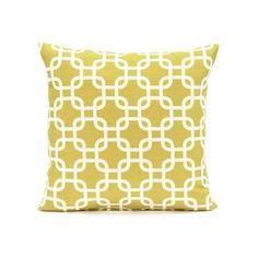 """Amazon.com: 18"""" X 18"""" Mustard Yellow & Cream Square Link Accent Throw Pillow Cover: Home & Kitchen"""