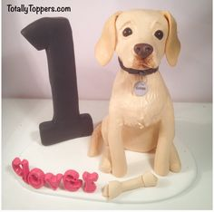 A Labrador cake topper I made for This Morning Wedding Cake Toppers, Wedding Cakes, Fab Cakes, Cake Models, Making Fondant, Fondant Toppers, Novelty Cakes, Ideas Para, Labrador