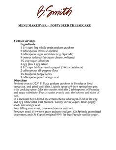 MENU MAKEOVER –  POPPY SEED CHEESECAKE
