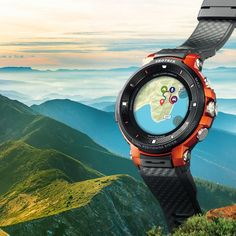 This intelligent watch includes a dual-layer monochrome and full-color display. Highlighting maps and data in finer detail, the watch shows so much more than just time. Unique Gadgets, Cool Tech Gadgets, Gadgets And Gizmos, Small Case, Casio, Smart Watch, Monochrome, Outdoor Living, Hiking