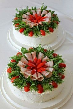 Salad decoration,  savory cold cake
