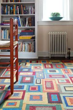 #DashandAlbert Box In Box Wool Hooked Rug. Think inside the box with this contemporary-cool jumble of bold colors and geometric shapes.