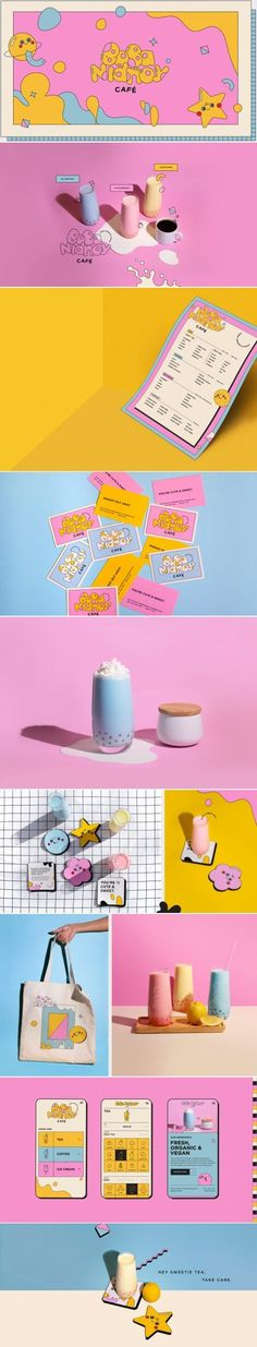 Boba Nidnoy boba tea cafe brand identity design by Kittaya Treseangrat Museum Branding, Cafe Branding, Restaurant Branding, Branding Agency, Identity Branding, Bakery Identity, Advertising Agency, Corporate Identity, Business Branding