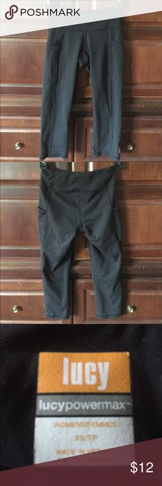 "Lucy Black Yoga Capri Pants Size XS With front pockets. 10.5"" across elasticized waist. 20"" inseam. 7"" rise. Lucy Pants Capris"