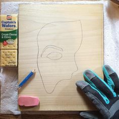 Studio snapshot.  Phantom Mask 2016-2, work in progress. Oh, and lunch. • #itsayscaptain #yasss #wip #lunch #pinkpearl #glove #phantom #wood #woodworking #woodburning #pyrography #art #artist #artistsofinstagram #studiosnapshot #stock #inventory #mask #etsy #etsyshop #etsyseller #theanchoredalbatross #lance
