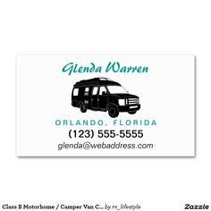 Custom cut out punch cards loyalty cards business cards and card class b motorhome camper van calling card business cards by rv lifestyle colourmoves