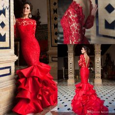 2016 New Spring Red Mermaid Evening Dresses Wear Lace Sexy Backless Tiered Skirt Bateau Illusion Sweep Train Prom Party Gowns Custom Made Online with $149.74/Piece on Haiyan4419's Store | DHgate.com