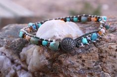 She's Gone to Gallup - Serpentine and Turquoise Leather Bracelet Wrap by Leftovers4Dinner on Etsy