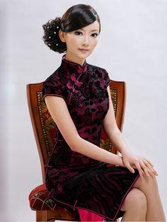 velvet overlay cheongsam