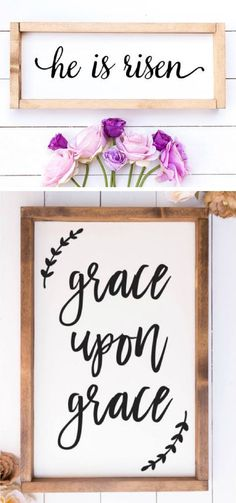 He is Risen // Christian Wall art / christian wall decor / scripture wood sign / rustic wood signs // farmhouse wooden sign / scripture art / Easter decor #ad