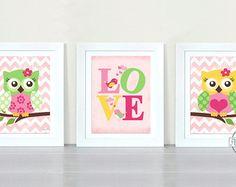 "Owl Baby Girl Nursery Art Print , Childrens Wall Art , Baby Room Decor Kids Print, Nursery Decor 8""x10""owl pink  aqua"