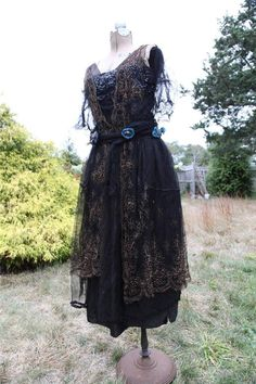 c1915 Edwardian ~ Layered Antique SILK PARTY DRESS Guipure lace, Net, Sequins. Front