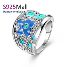 >> Click to Buy << Wholesale High Quality Nickle Free Antiallergic Fashion Jewelry White gold-color Ring Enamel Flower paved zircon hot #Affiliate