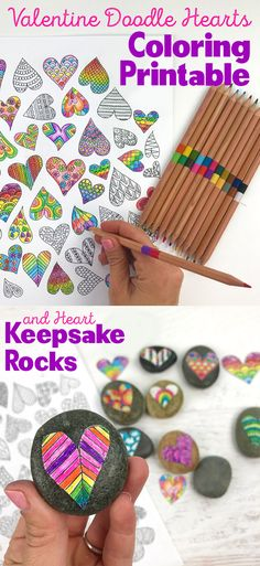 Valentine's Day Crafts - Doodle Hearts Coloring Page and Heart Keepsake Rocks - OOLY Valentine Doodle, Valentine Theme, Saint Valentine, Valentines Day Party, Valentines For Kids, Valentine Day Crafts, Holiday Crafts, Easy Crafts For Kids, Art For Kids