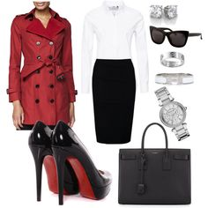 A fashion look from January 2015 featuring white button down shirt, red coat and knee length skirts. Browse and shop related looks. White Button Down Shirt, Working Woman, 3.1 Phillip Lim, Burberry, Yves Saint Laurent, Christian Louboutin, Fashion Looks, Michael Kors, Coat